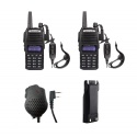 Pack 2x Baofeng UV-82 + mic + battery + USB cable