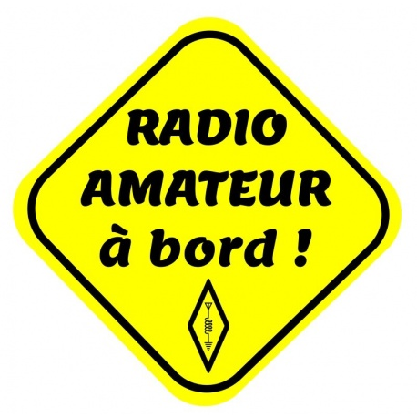 "Fluo sticker ""radio amateur à bord !"" Passion Radio Stickers AUTOCOLLANT-HAM2-919"