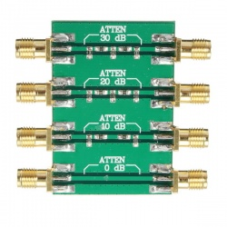 RF PCB attenuator from -10dB to -30dB max power. 200mW (23dBm)