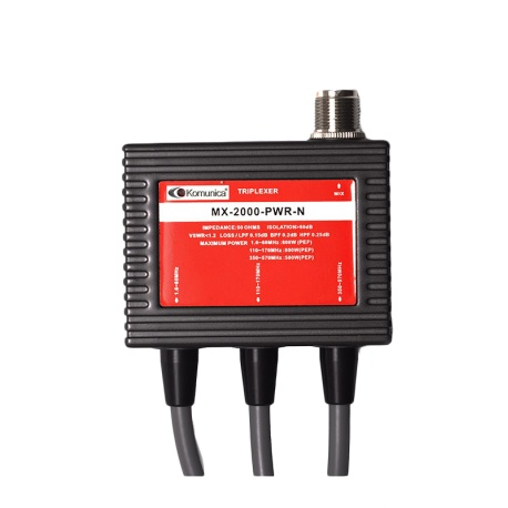 Triplexer 1.6 -60 / 110-170/350-570MHz, with cable